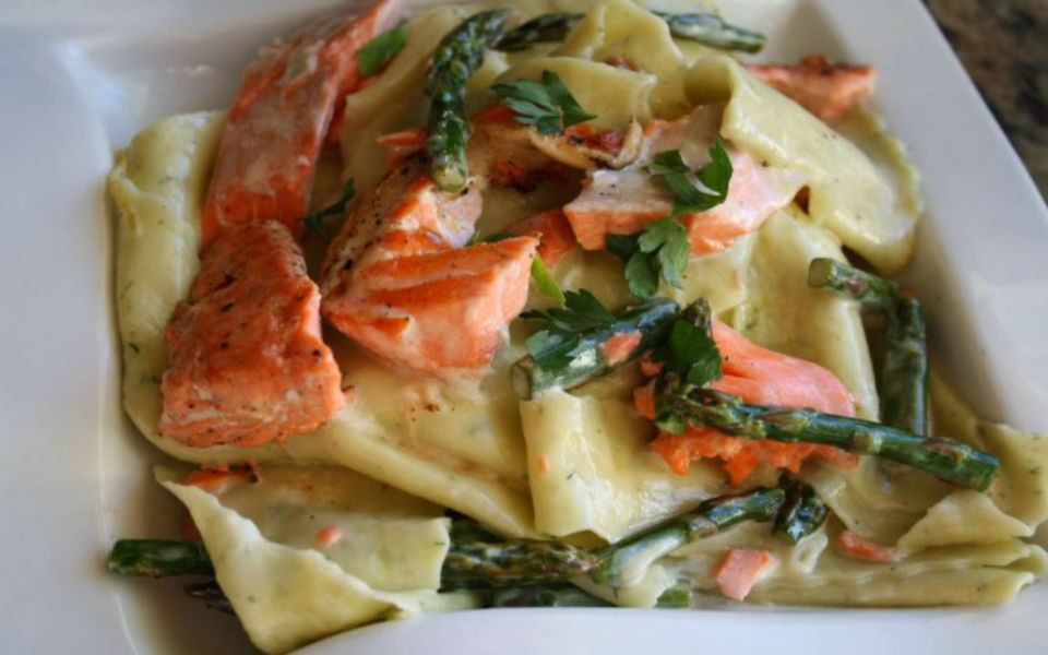 Grill Salmon & Asparagus in Wild Dill-Lemon Sauce over Pappardelle Pasta